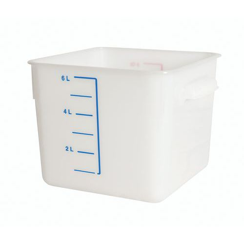 Quadratische Lagerbox aus Kunststoff mit Skalierung