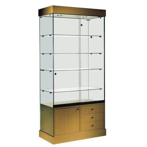 vitrine faggio avec armoire basse et clairage manutan. Black Bedroom Furniture Sets. Home Design Ideas