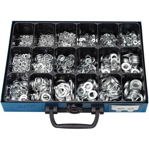 Coffret de rondelles plates et rondelles élastiques sans bec - 1700 pièces