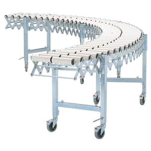 Transporteur extensible et mobile - À rouleaux plastique Ø 50 mm - Largeur utile 400 mm