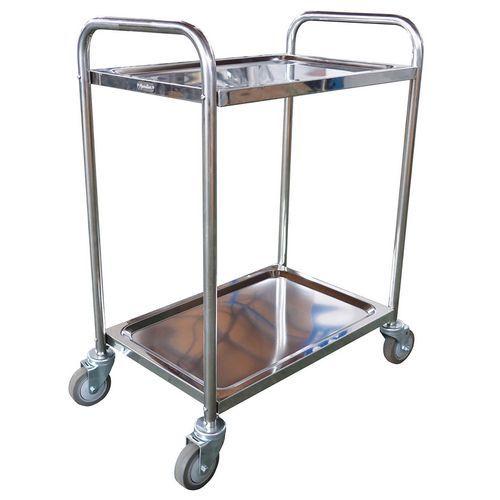 Chariot inox - 2 plateaux - Force 100 kg - Manutan